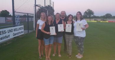 Die Korbballabteilungsleitung ehrte aktive Spielerinnen im Damenbereich